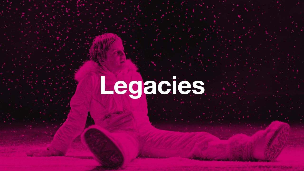 Legacies: text (Legacies) overlaid onto a dark pink-tinted image of Denise Gough (Harper) in Angels in America - Millennium Approaches