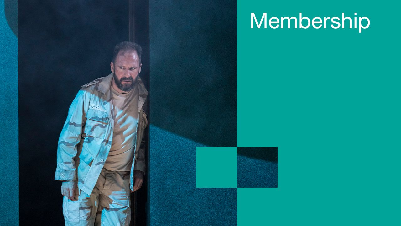 Memberships: text (Memberships) overlaid on a composite image containing a photo of Ralph Fiennes in Antony and Cleopatra