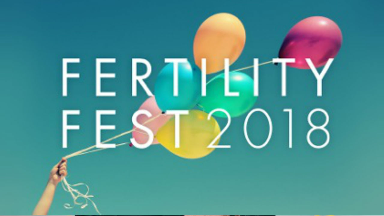 The logo for Fertility Fest 2018 - balloons on a blue background