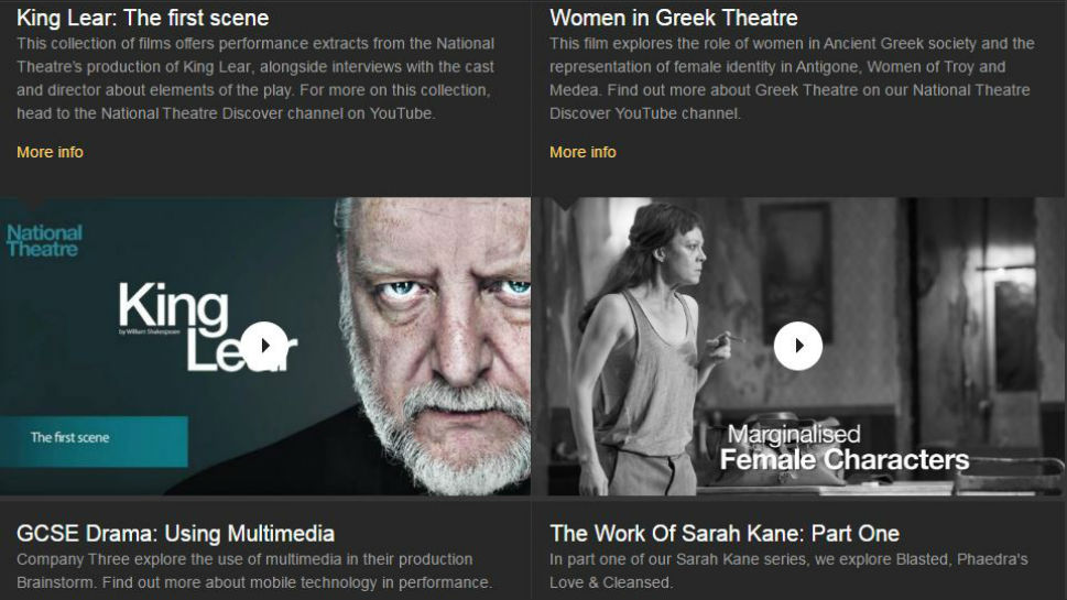Backstge Videos, with examples of Simon Russel Beale in King Lear and Helen McCrory in Medea