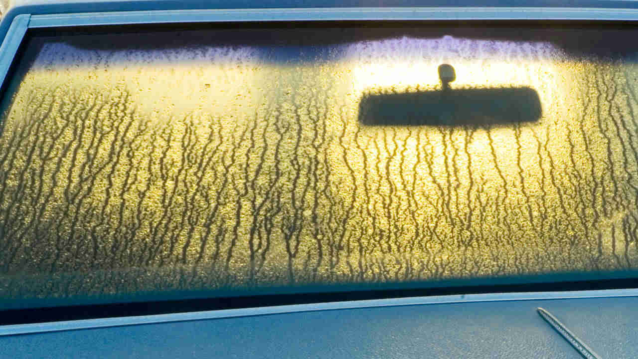 A can windscreen covered in condensation