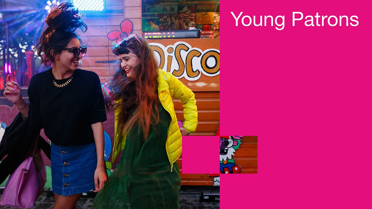 Young Patrons memberships poster with photo of two Members at an event