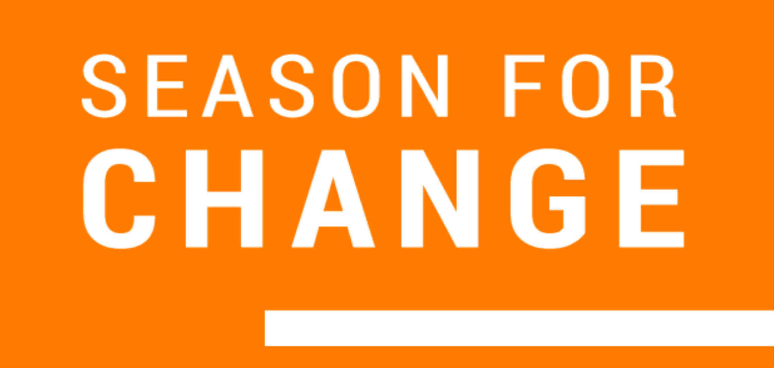 Season for Change logo - white text on an orange background