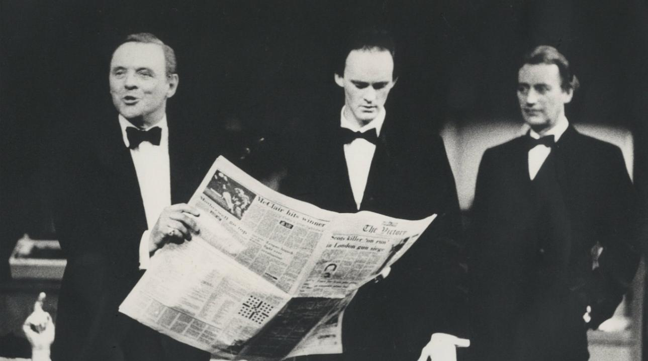 Anthony Hopkins, Tim McInnerny and Peter Blythe in Pravda by David Hare (1985) Photo by Nobby Clark