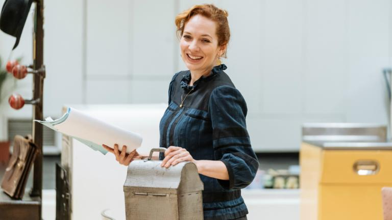 Katherine Parkinson as Judy in Home I'm Darling rehearsals at the National Theatre