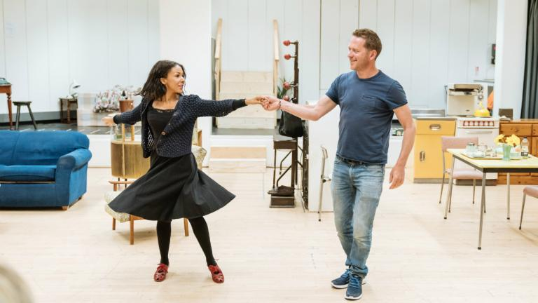 Barnaby Kay as Marcus and Kathryn Drysdale as Fran in Home I'm Darling rehearsals at the National Theatre
