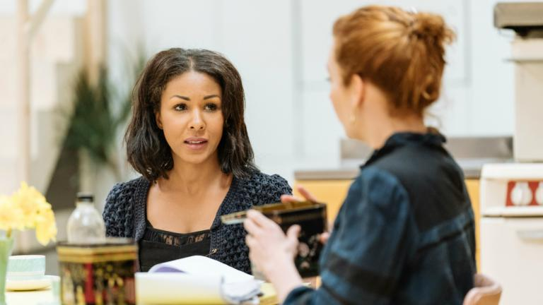 Kathryn Drysdale as Fran and Katherine Parkinson as Judy in Home I'm Darling rehearsals at the National Theatre (c) Manuel Harlan