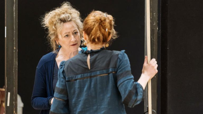 Sian Thomas as Sylvia and Katherine Parkinson as Judy in Home I'm Darling rehearsals at the National Theatre