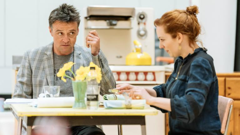 Richard Harrington as Johnny and Katherine Parkinson as Judy in Home I'm Darling rehearsals at the National Theatre