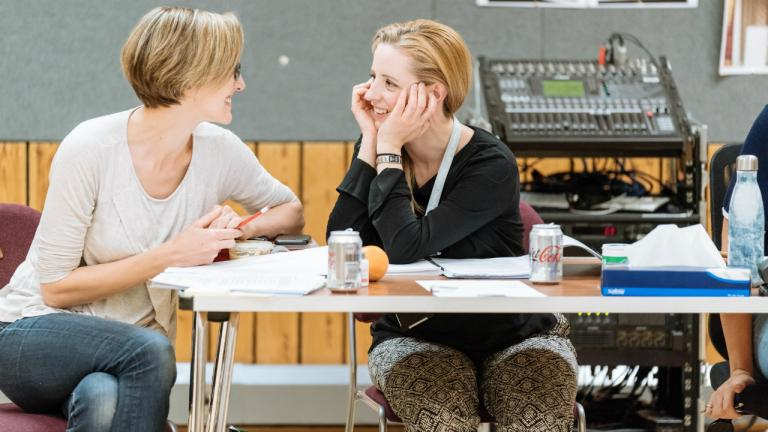 Tamara Harvey (Director) and Laura Wade (Playwright) in rehearsals for Home I'm Darling at the National Theatre