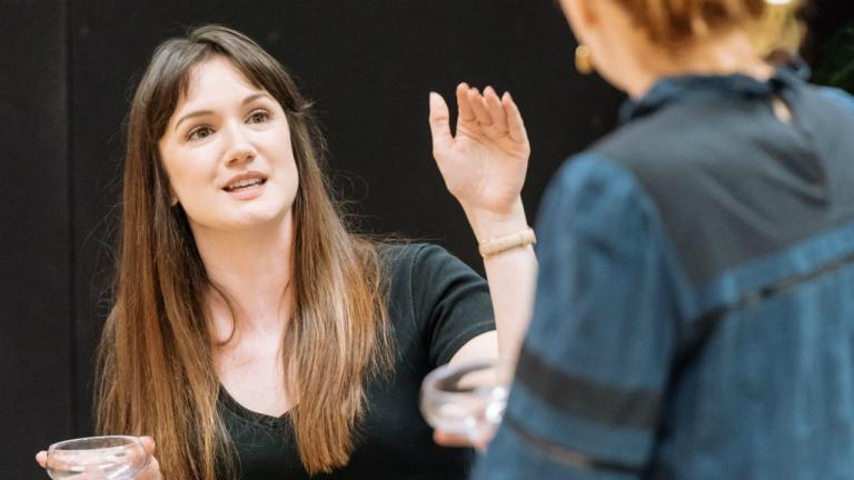 Sara Gregory as Alex and Katherine Parkinson as Judy in Home I'm Darling rehearsals at the National Theatre