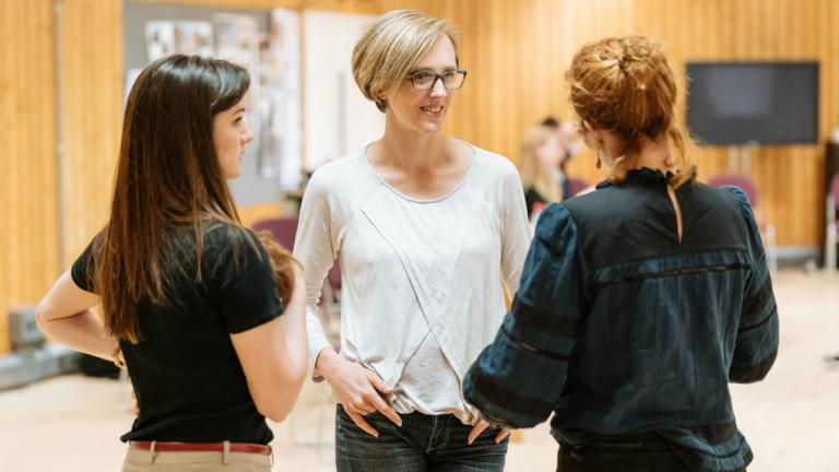 Sara Gregory as Alex Tamara Harvey (Director) and Katherine Parkinson as Judy in Home I'm Darling rehearsals at the National Theatre