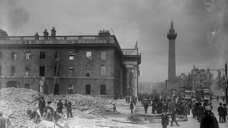 The shell of the General Post Office on Sackville Street (later O'Connell Street), Dublin in the aftermath of the 1916 Rising