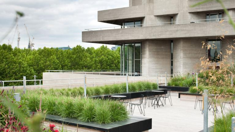 The Bank of America Merrill Lynch Terrace at the National Theatre, with the terrace garden in full bloom