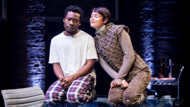 Fisayo Akinade and Gemma Arterton in the Donmar Warehouse's production of Saint Joan