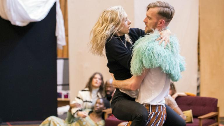 Vanessa Kirby (Julie) and Ashley Morgan Davies (Ensemble) in rehearsals for Julie at the National Theatre