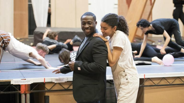 Eric Kofi Abrefa (Jean) and Thalissa Teixeira (Kristina) in rehearsals for Julie at the National Theatre