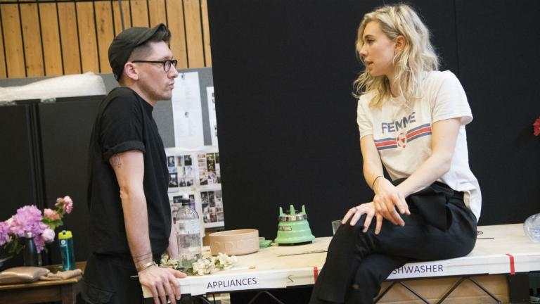 Tom Scutt (Designer) and Vanessa Kirby (Julie) in rehearsals for Julie at the National Theatre