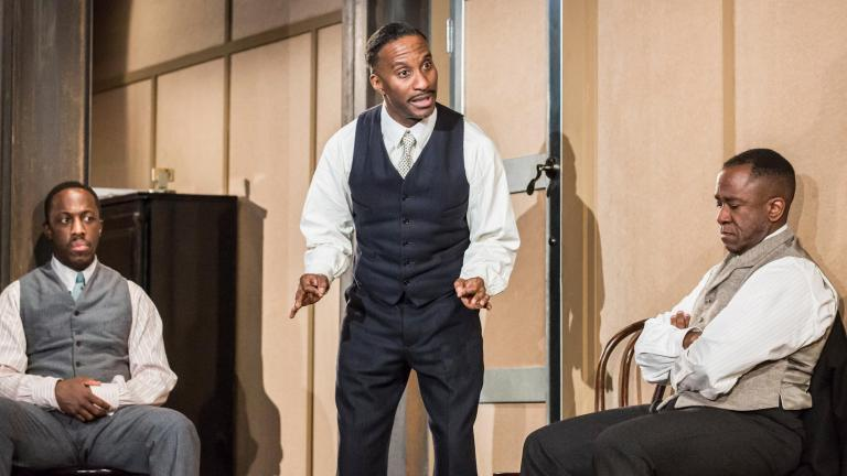 Giles Terera, Clint Dyer and Lucian Msamati. Photo by Johan Persson