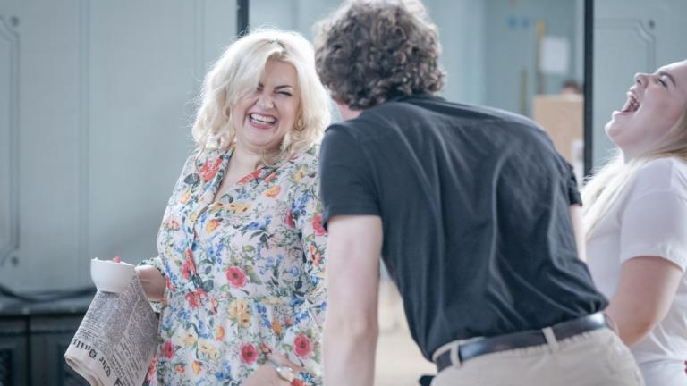 A Taste of Honey tour rehearsal image with Jodie Prenger and company members