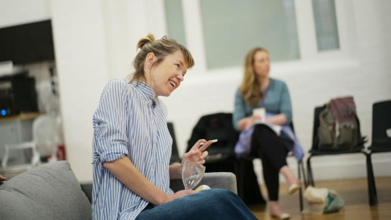 Anna Maxwell Martin in rehearsal for Consent by Nina Raine image by Sarah Lee