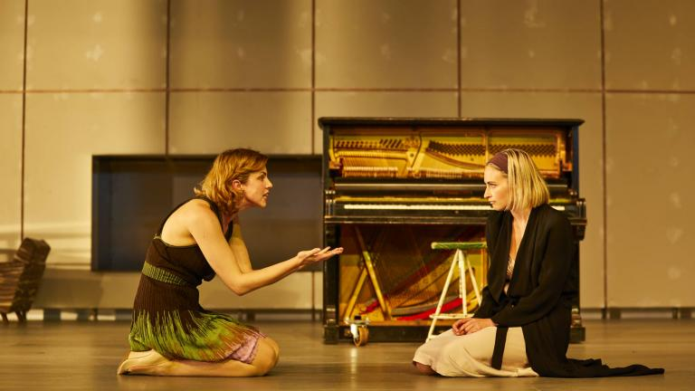 Hedda Gabler on Tour production photo with Annabel Bates (Mrs Elvsted) and Lizzy Watts (Hedda Gabler)