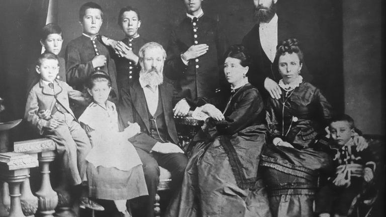 Chekhov with family, 1874 (Anton Chekhov is standing second from left); photo taken in the Chekhov museum in Badenweiler
