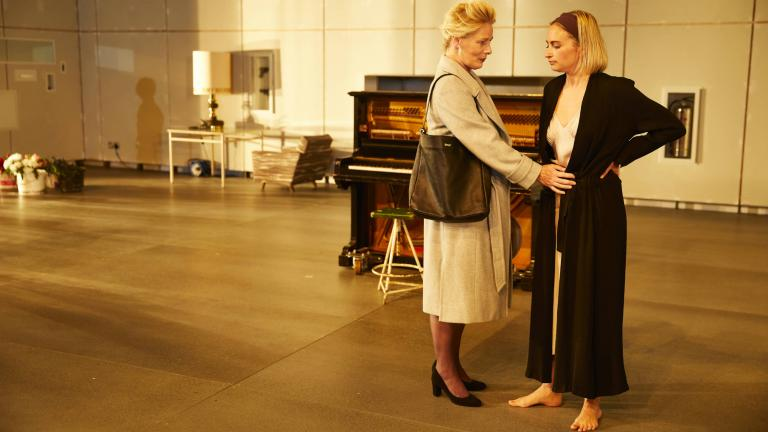 Hedda Gabler on Tour production photo with Christine Kavanagh (Juliana) and Lizzy Watts (Hedda Gabler)