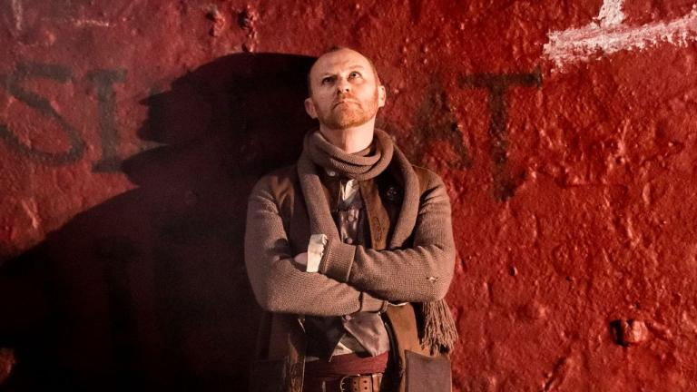 NT at Home Coriolanus production image of Mark Gatiss as Menenius