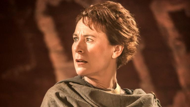 NT at Home Coriolanus production image of Helen Schlesinger as Sicinia