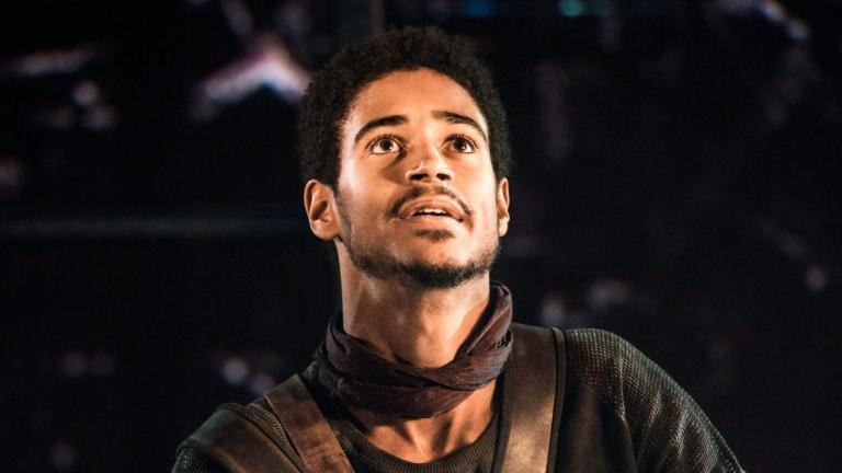 NT at Home Coriolanus production image of Alfred Enoch as Lartius