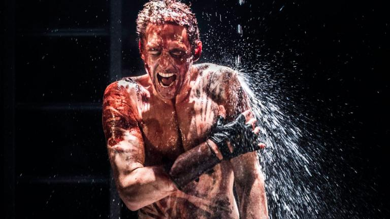 NT at Home Coriolanus production image of Tom Hiddleston as Coriolanus