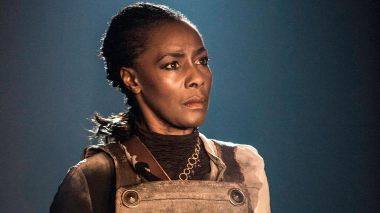 NT at Home Coriolanus production image of Jacqueline Boatswain as Valeria