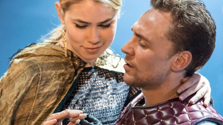 NT at Home Coriolanus production image of Birgitte Hjort Sorensen as Virgilia and Tom Hiddleston as Coriolanus
