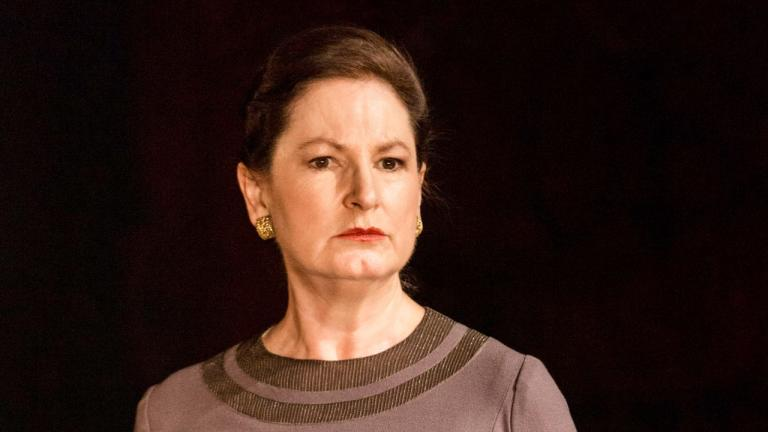 NT at Home Coriolanus production image of Deborah Findlay as Volumnia