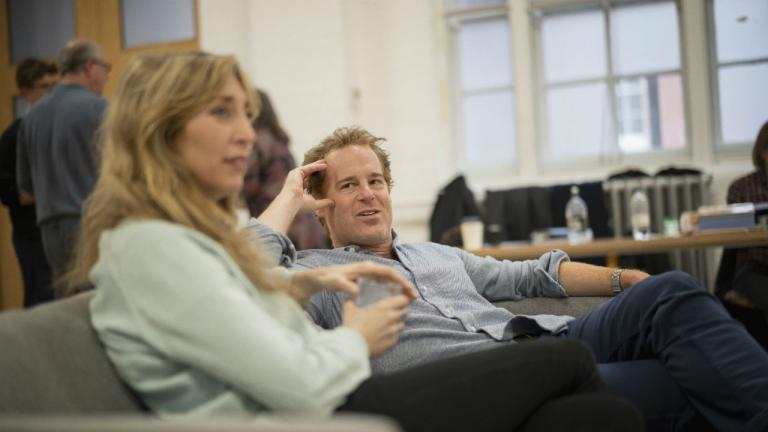 Daisy Haggard Adam James in rehearsals for Consent by Nina Raine