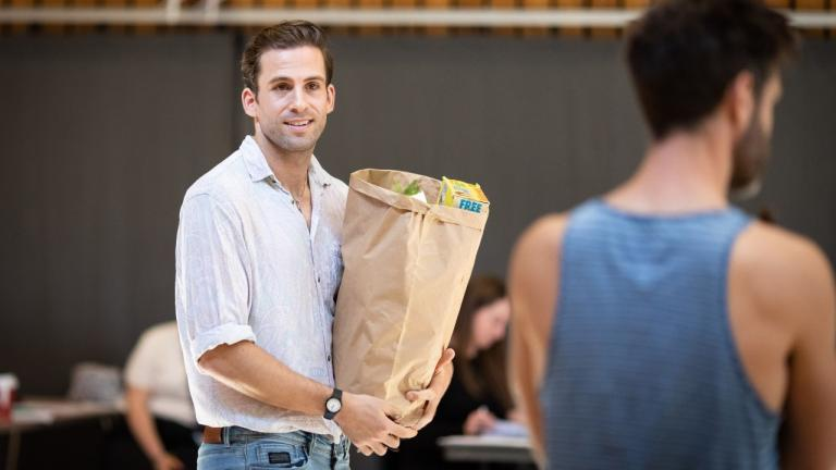Dino Fetscher in rehearsal for The Normal Heart