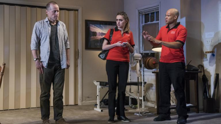 Tim Hopper (Andy), Aimee Lou Wood (Effie) and Glenn Davis (Gio) in Downstate