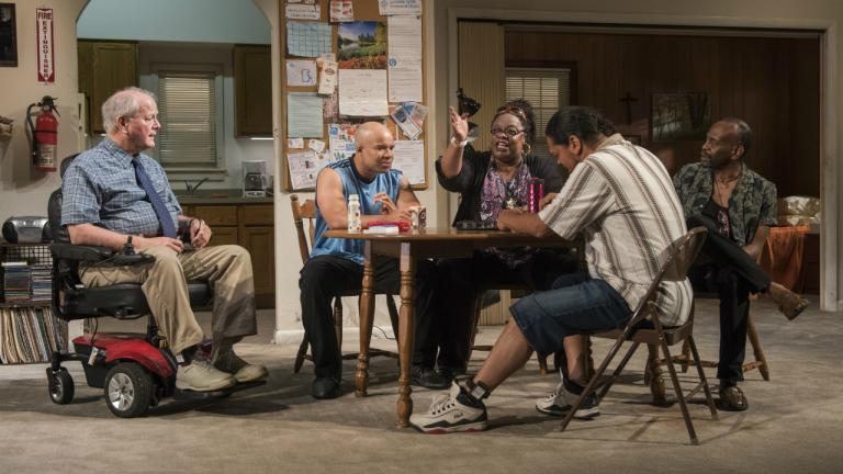 Francis Guinan (Fred), Glenn Davis (Gio), Celilia Noble (Ivy), Eddie Torres (Felix) and K. Todd Freeman (Dee) in Downstate