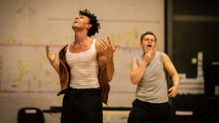 Elander Moore and Henry Cott in rehearsal for The Normal Heart