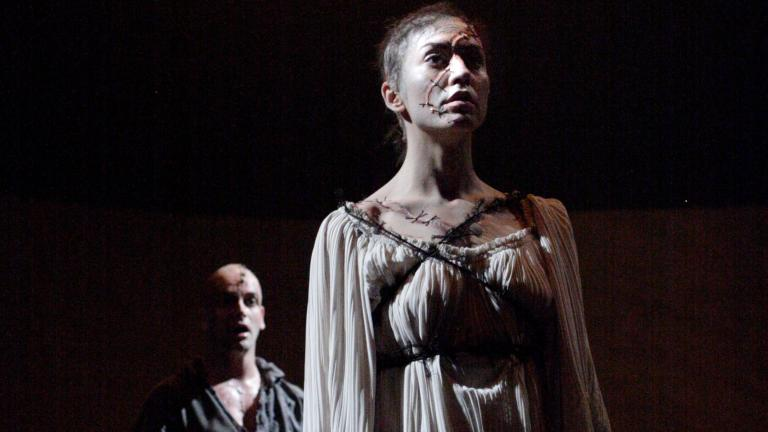Frankenstein production photo Jonny Lee Miller as The Creature and Andreea Padurariu as the female Creature