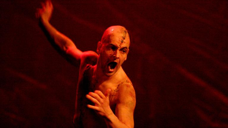 Frankenstein production photo Jonny Lee Miller as The Creature