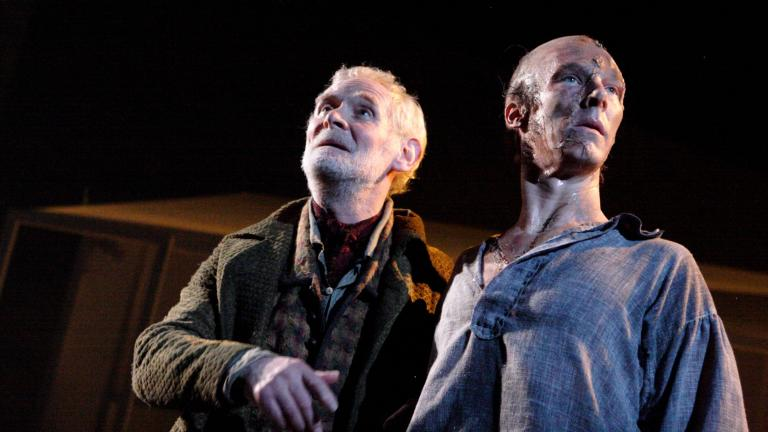 Frankenstein production photo Karl Johnson as De Lacy and Benedict Cumberbatch as The Creature
