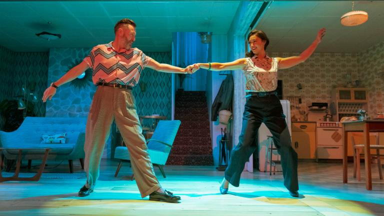 Hywel Morgan and Siubhan Harrison in Home, I'm Darling in the West End