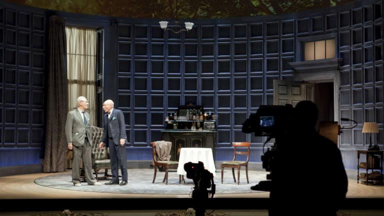 Ian McKellen and Patrick Stewart NT Live camera rehearsals for No Man's Land