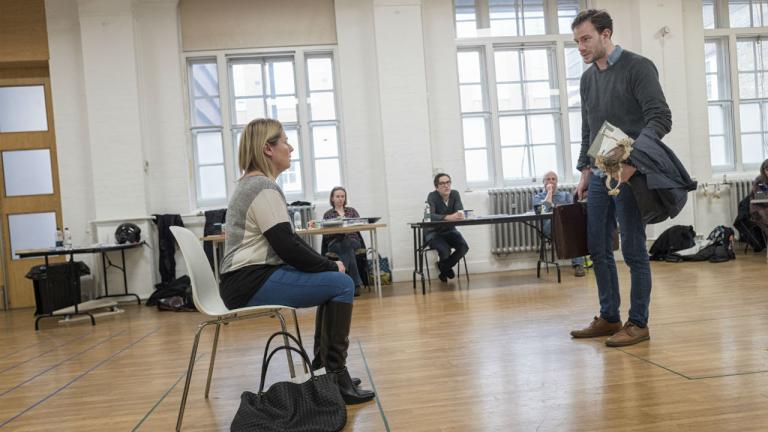 in rehearsal for Consent by Nina Raine foreground Heather Craney Pip Carter