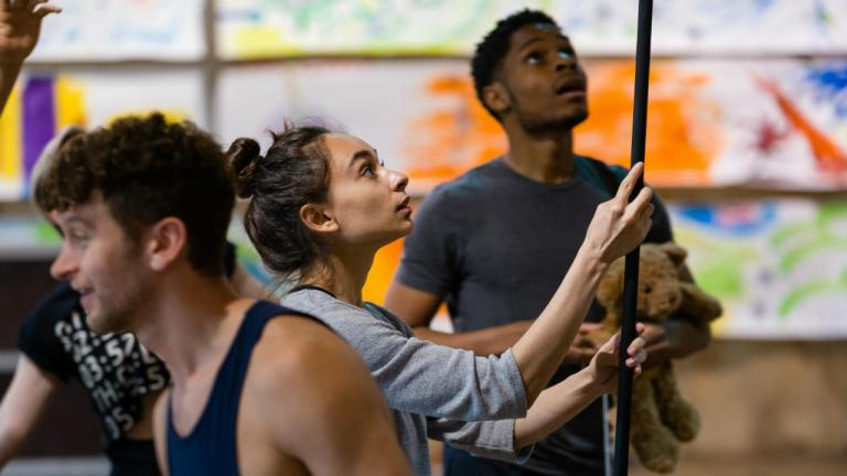 Iniki Mariano and Peter Pan company in rehearsals