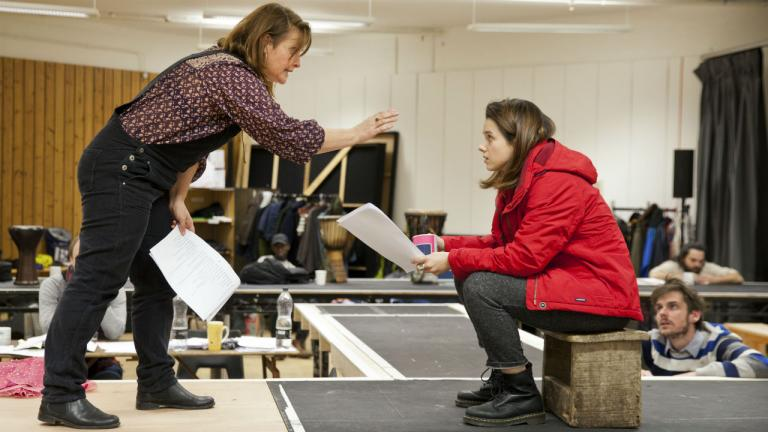 Jo McInnes and Rachel Redford rehearsing The Jungle