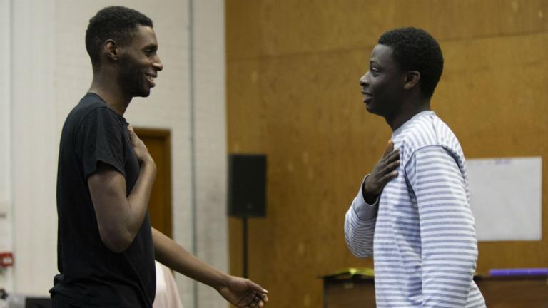 Joseph Adelakun as Leontes and Terique Jarrett as Polixenes in The Winter's Tale rehearsals at the National Theatre
