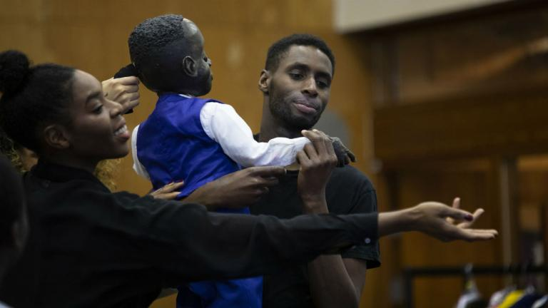 Joseph Adelakun as Leontes and Wreh-Asha Walton as Hermione in The Winter's Tale rehearsals